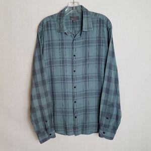 Vince Button Front Blue Plaid Shirt Mens Large